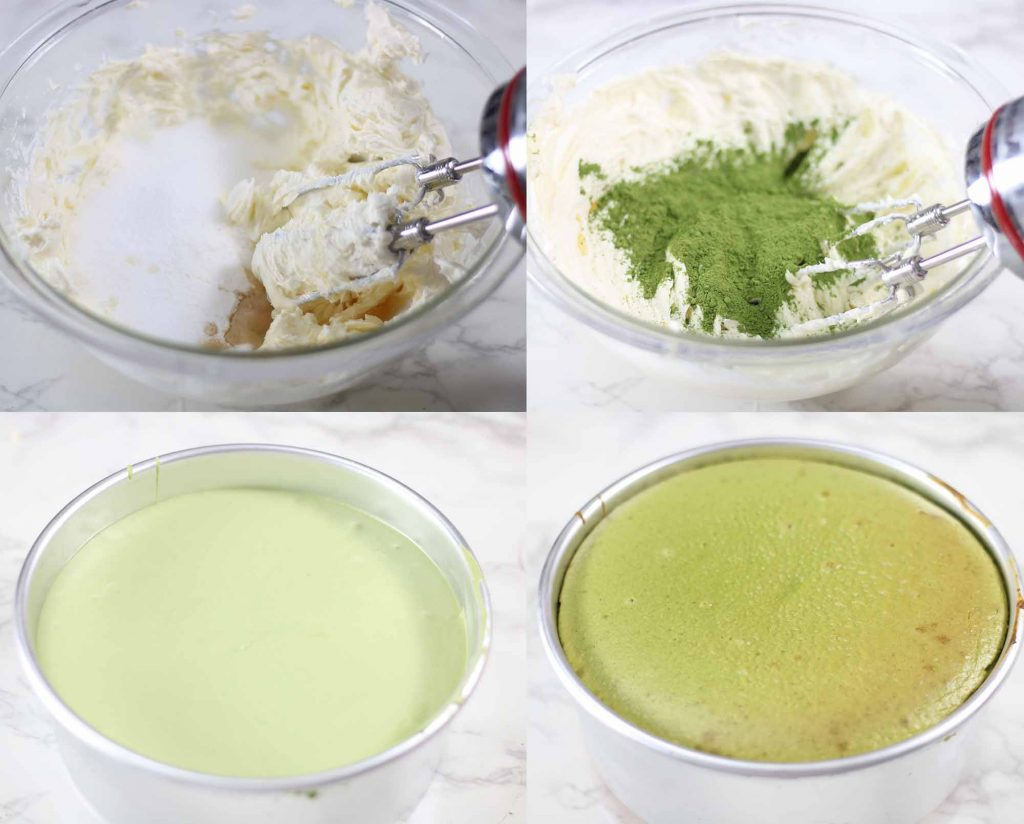 How to make a Japanese matcha cheesecake process shots.