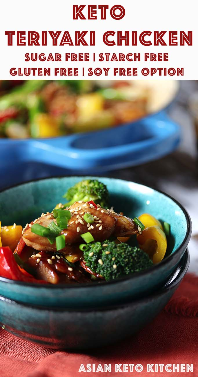 Low Carb Keto Japanese Teriyaki Chicken Recipe - Asian Keto Kitchen - Stir fry juicy chicken thighs and vegetables with a homemade sugar free teriyaki sauce! #chickenteriyaki #teriyakichicken #sugarfreeteriyaki #chickenstirfry #stirfry #lowcarbteriyakichicken #lowcarbchicken