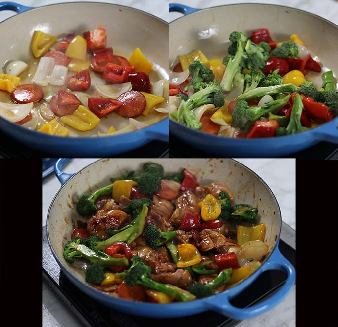 Steps showing how to make a healthy teriyaki chicken stir fry with vegetables.