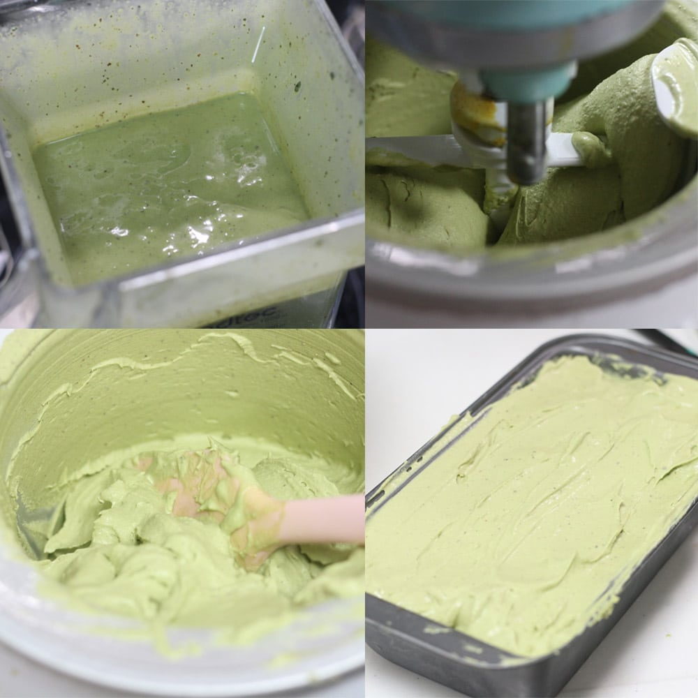 Images showing how to make green tea ice cream with an ice cream maker