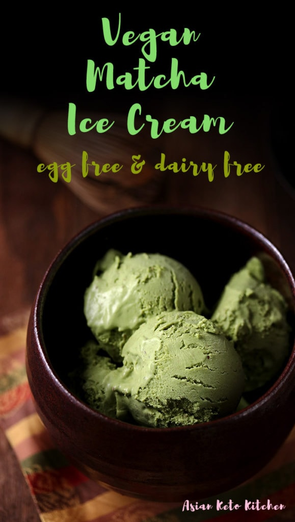 This vegan green tea ice cream recipe is so healthy and creamy. It's completely dairy free, sugar free and egg free so it makes the perfect healthy Japanese dessert. Make this homemade matcha ice cream recipe with an ice cream machine or no machine! #ketoicecream #matcha #greentea #japanesematcha #asianketokitchen