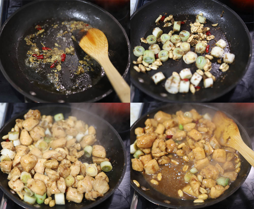 Images showing how to make Chinese Kung Pao Chicken