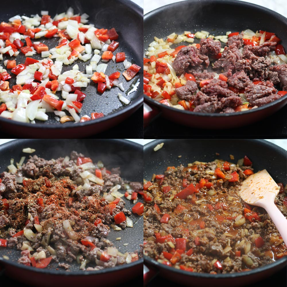 Images showing how to make Okinawa taco rice. This step shows how to make taco meat.