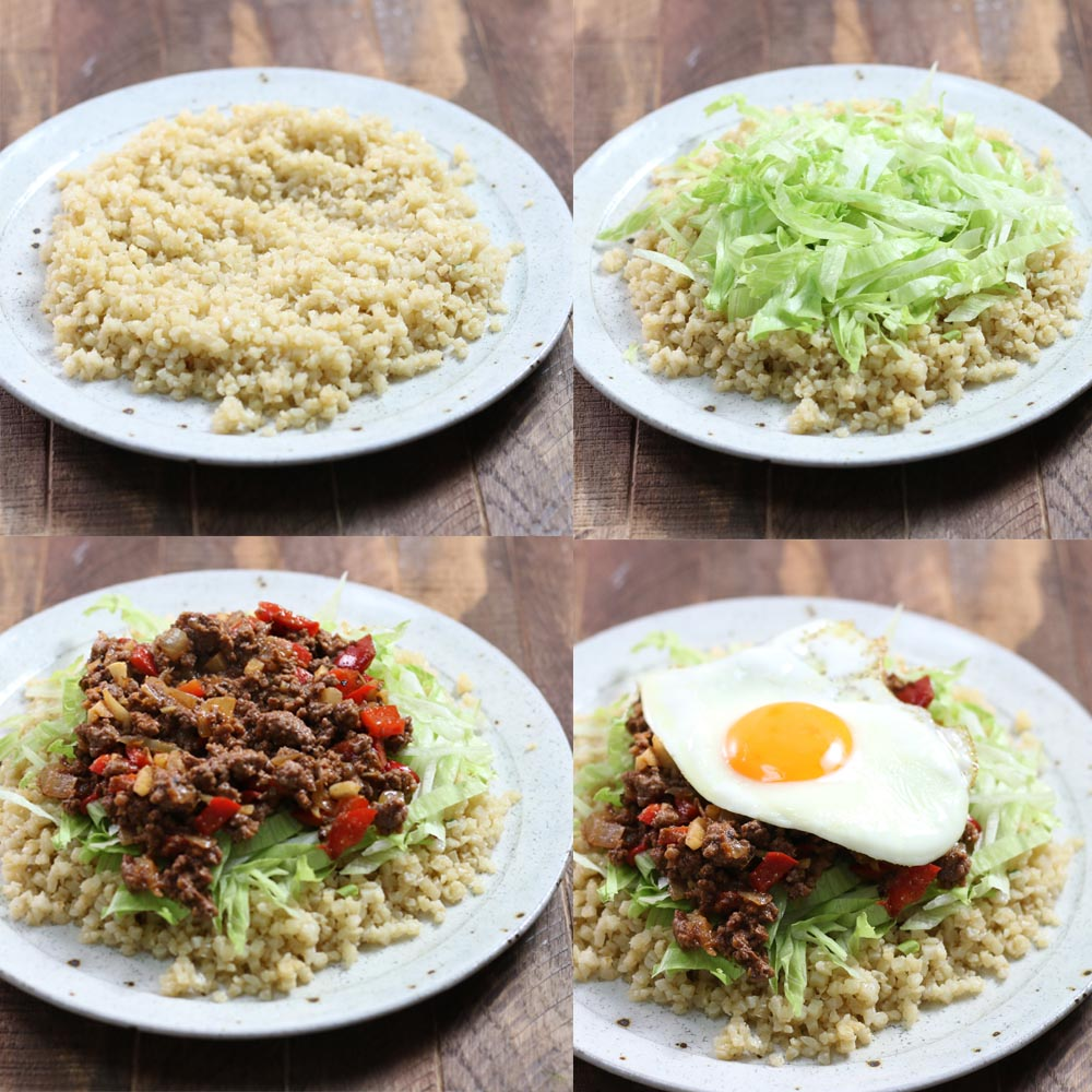 Images showing how to make Okinawa Taco Rice with cauliflower rice and taco meat.