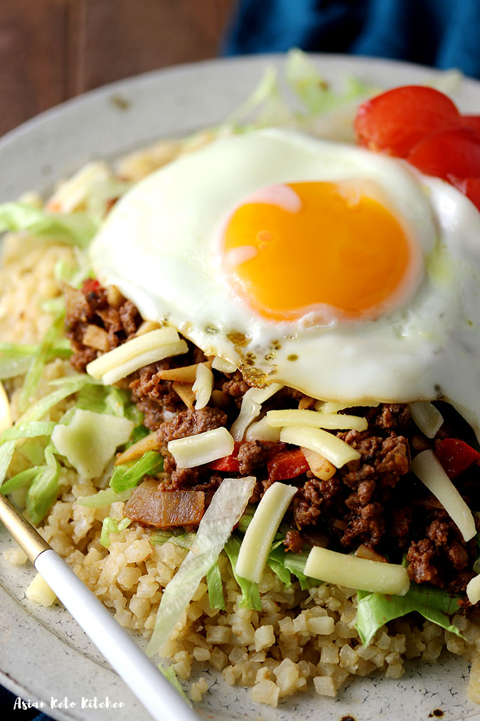 A closeup shot of Japanese taco rice made with cauliflower and homemade taco seasoning.